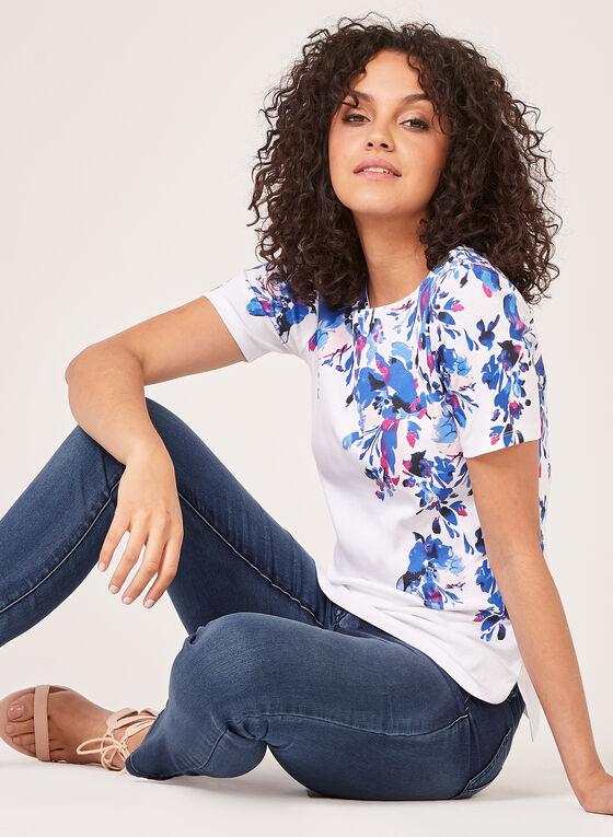 T-shirt en coton à motif floral, Bleu, hi-res