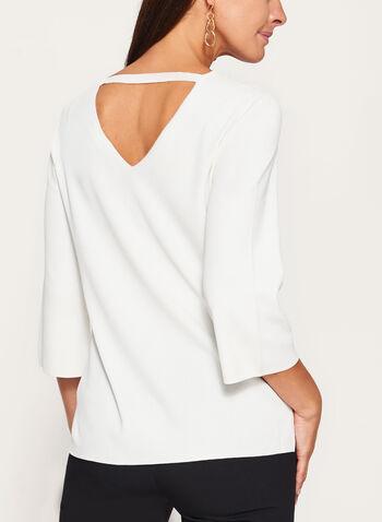 Pull tricoté à manches ¾ évasées, Blanc cassé, hi-res