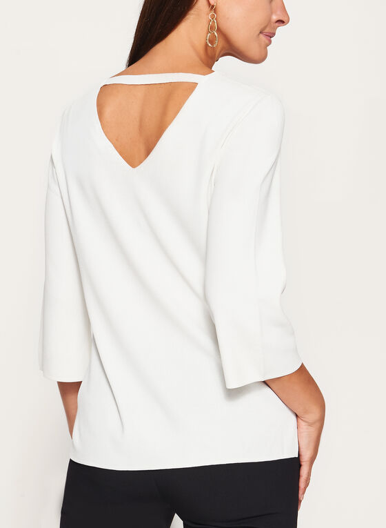 ¾ Flare Sleeve Knit Sweater, Off White, hi-res