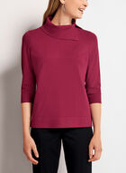 Split Funnel Neck Cropped Sweater, Red, hi-res