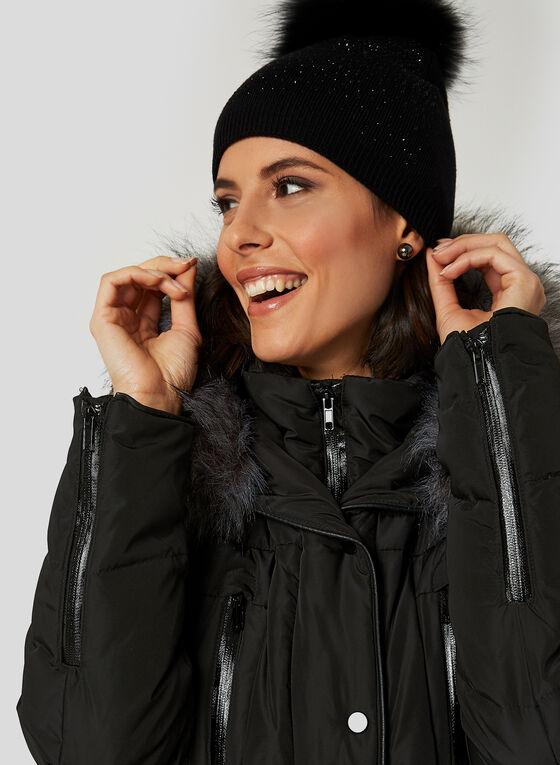 Manteau en duvet avec fausse fourrure, Noir