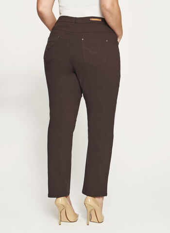 Simon Chang - Signature Fit Embroidered Straight Leg Pants, Brown, hi-res
