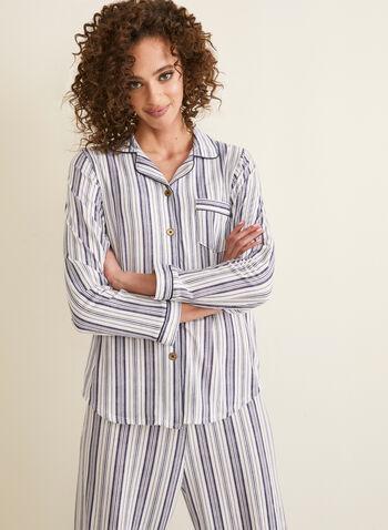 Claudel Lingerie - Pyjama à rayures, Blanc,  printemps été 2020, pyjama, ensemble pyjama, rayures, Claudel Lingerie