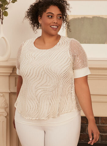 Crochet Lace Top, White,  top, short sleeves, crochet, knit, lace, waves, chiffon, spring summer 2020