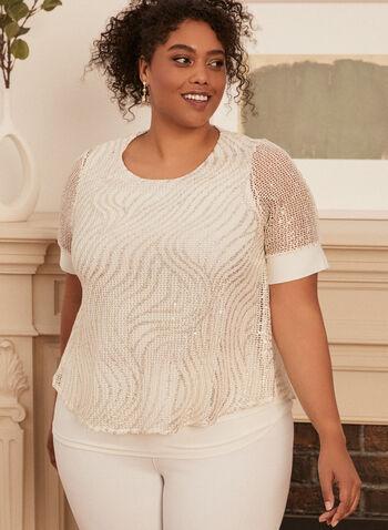 Haut superposé en dentelle crochet, Blanc,  haut, manches courtes, crochet, mousseline, printemps été 2020