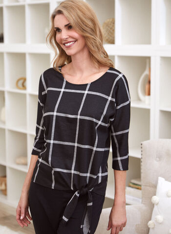 Plaid 3/4 Sleeve Top, Black,  made in Canada, online exclusive, top, 3/4 sleeves, side tie, plaid, jacquard, fall winter 2021