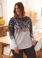 Leaf Print Sweater, Grey