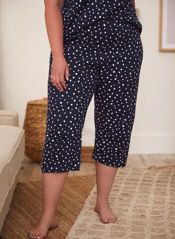 Polka Dot Print Pyjama Set, Blue,  spring summer 2021, sleepwear, pyjamas, pajamas, PJs, sets, capri pants, v neck, made in Canada, pull on,