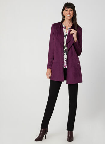 Long Open Front Jacket, Purple,  long sleeves, cascading, pockets, zippers, fall 2019, winter 2019