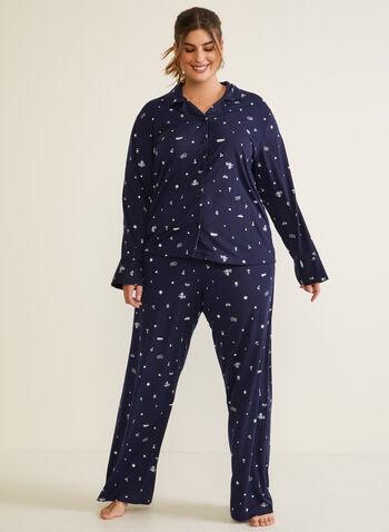 Ensemble pyjama à motif, Bleu,  automne hiver 2020, pyjama, ensemble