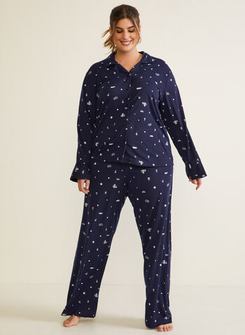 Floral Print Pyjama Set, Blue,  fall winter 2020, pyjama set