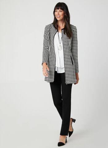 Houndstooth Jacket, Black,  fall winter 2019, houndstooth, jacket, front zipper,
