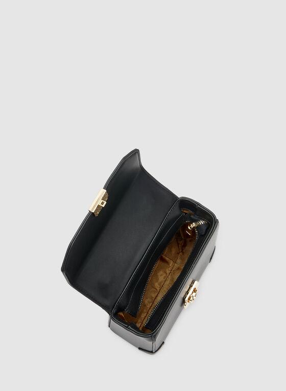 Satin Scarf Handle Bag, Black
