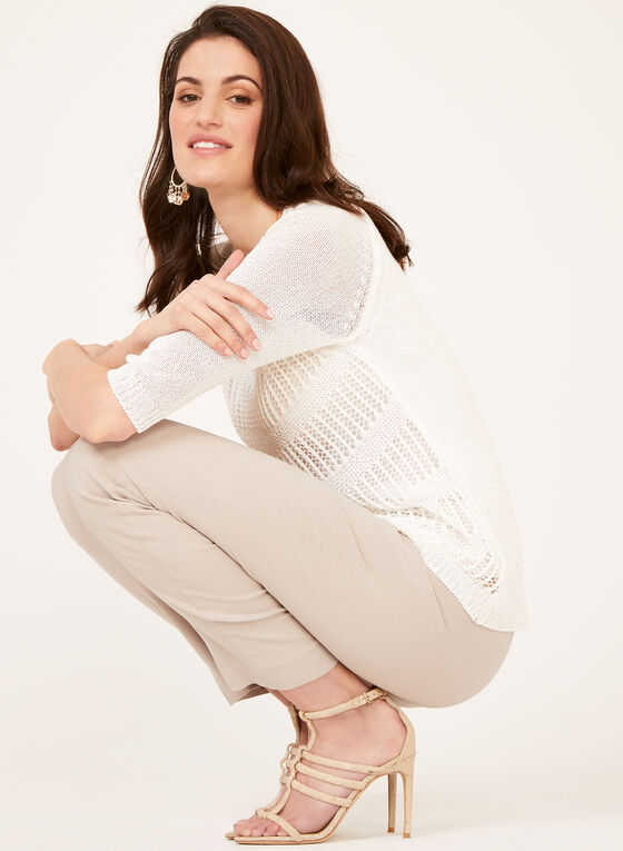 Double Layer Crochet Knit Sweater, White, hi-res
