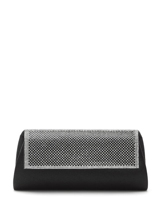 Crystal Embellished Flapover Clutch, Black, hi-res