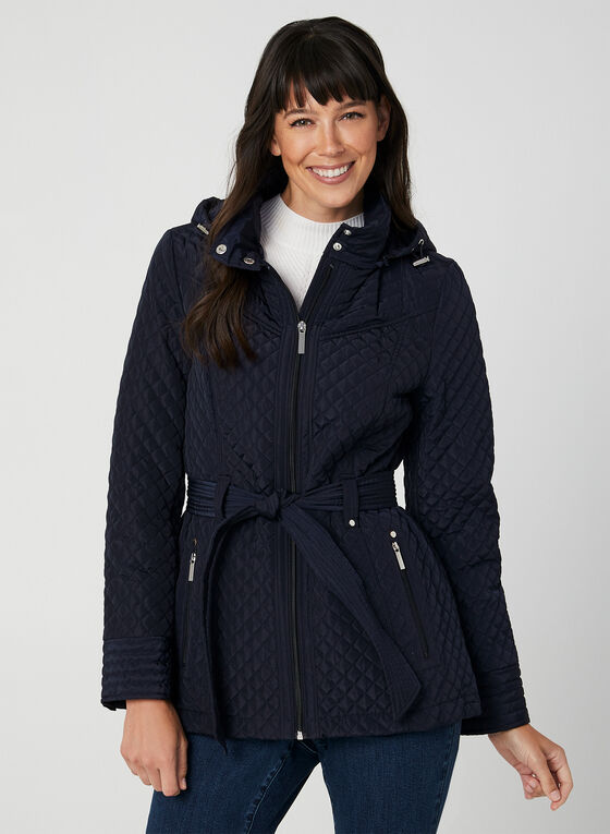 Quilted Tie Belt Coat, Blue, hi-res