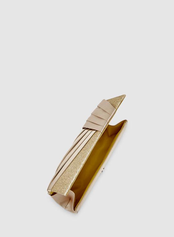 Pochette satinée et pailletée à plis, Or