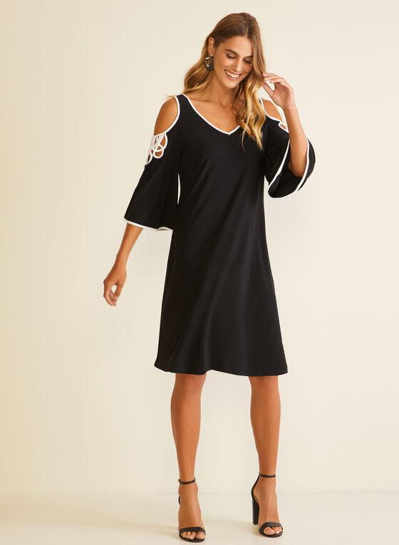 Cold Shoulder Bell Sleeve Dress, Black