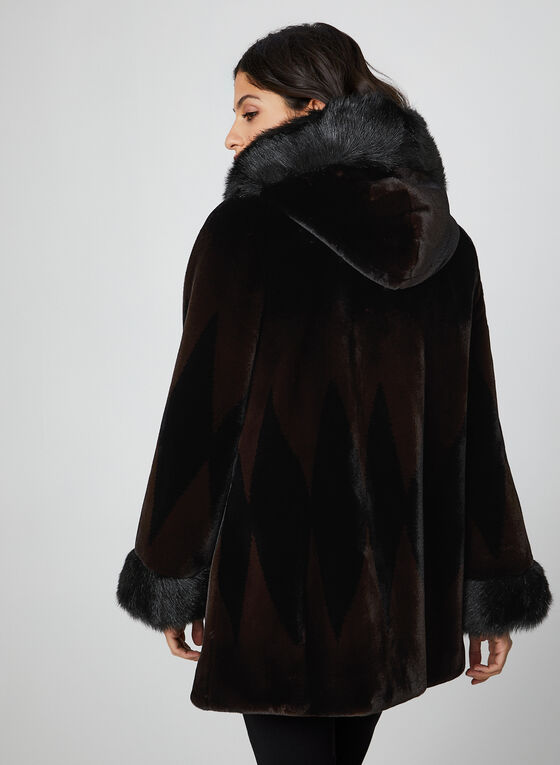 Nuage - Two Tone Faux Fur Coat, Black