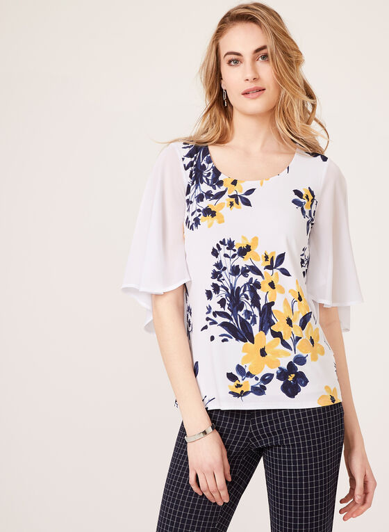 Floral Chiffon Sleeve Blouse, White, hi-res