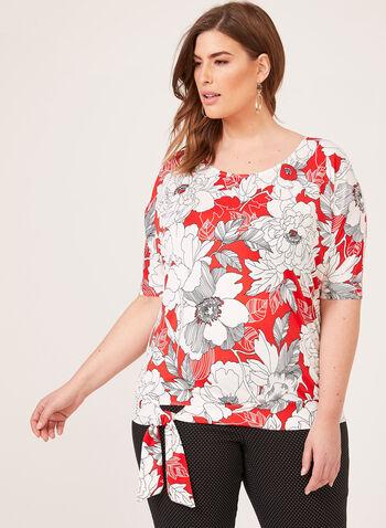 Floral Print Tie Detail Blouse, Red, hi-res