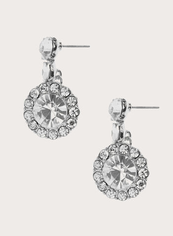Tiered Crystal Dangle Earrings, Silver, hi-res