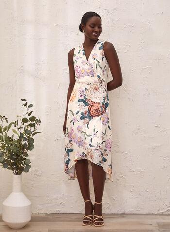 Robe fleurie sans manches asymétrique, Blanc,  printemps été 2021, robe de jour, robe, asymétrique, sans manches, encolure V, cache-cœur, portefeuille, motif floral,