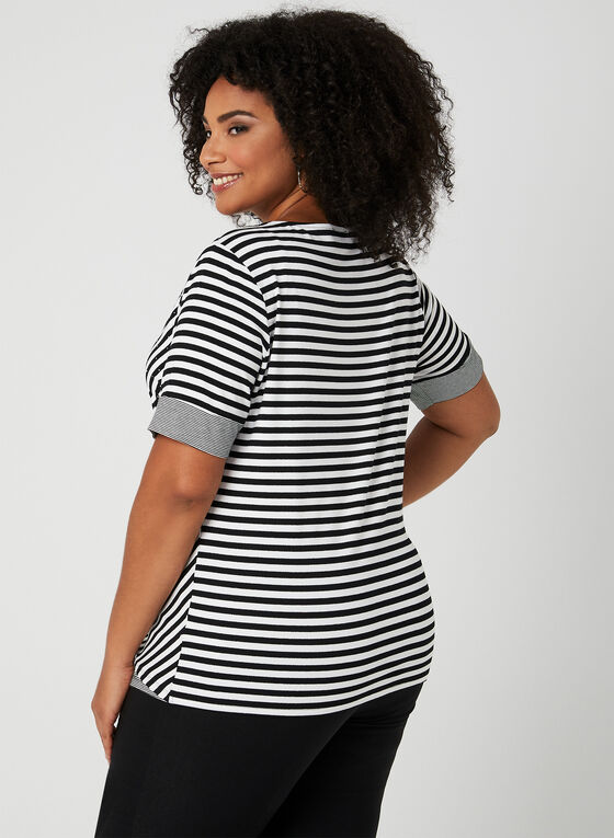 Stripe Print T-Shirt, Black
