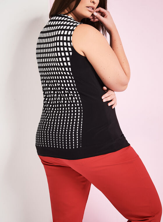 Sleeveless Square Print Top, Black, hi-res