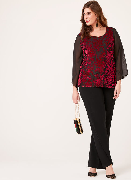 Shimmering Flocked Chiffon Top , Red, hi-res