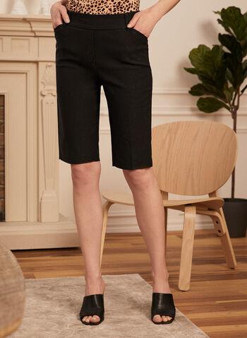 Pleated Pull-On Bermuda Shorts, Black,  bermuda, shorts, pull-on, straight, pockets, belt loops, pleats, spring summer 2020