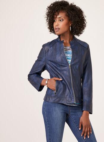 Ness – Brushed Faux Leather Moto Jacket, Blue, hi-res