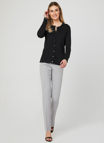 Lightweight Knit Cardigan, Black, hi-res
