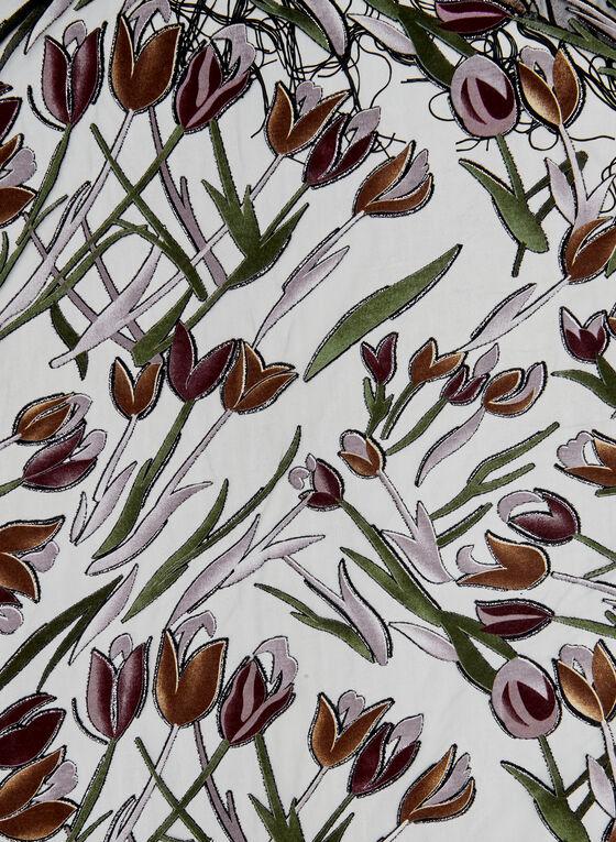 Foulard léger à motif tulipes, Vert