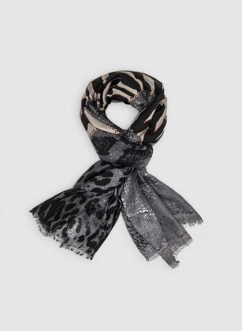 Foulard à imprimés animaliers variés, Gris, hi-res,  zèbre, zébré, léopard, animal, serpent, peau de serpent, automne hiver 2019