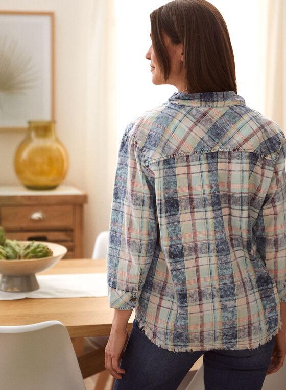 Charlie B - Plaid Button Front Shirt, Blue