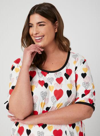 Hamilton - Pyjama 2 pièces à imprimé de cœurs, Blanc, hi-res