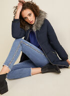 Laura Ashley - Hooded Coat With Faux Fur, Blue