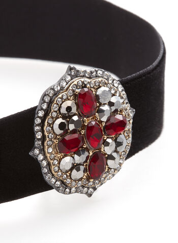 Ruby & Crystal Encrusted Choker, Red, hi-res