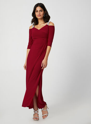 Cold Shoulder Jersey Dress, Red,  dress, occasion dress, cold shoulder, straps, ruching, V-neck, fall 2019, winter 2019