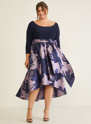 Jersey & Taffeta Dress, Blue,  evening dress, taffeta, floral, jersey, bow, fall winter 2020