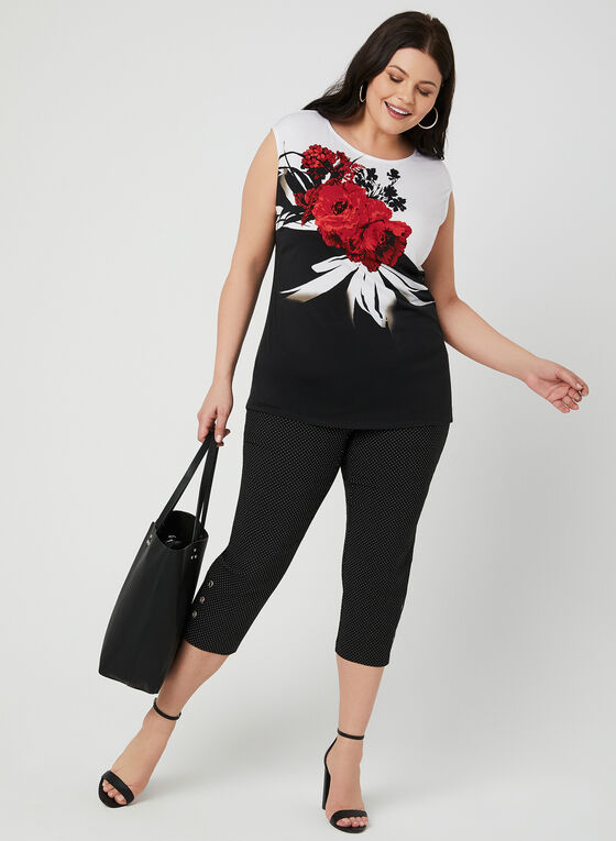 Floral Print Jersey Top, Black