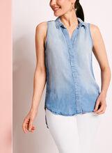 Blouse en jean boutonnée à fente arrière, Bleu, hi-res