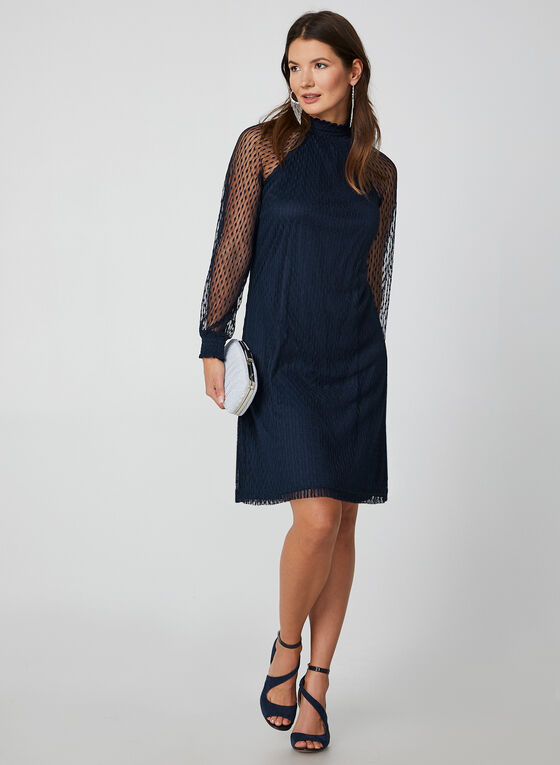 Long Sleeve Mesh Dress, Blue