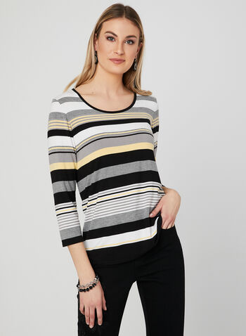 Stripe Print Jersey Top, Yellow, hi-res,