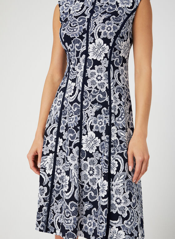 Robe courte à fleurs texturées, Bleu