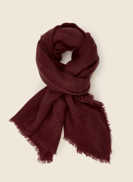 Fringed Twill Scarf, Red