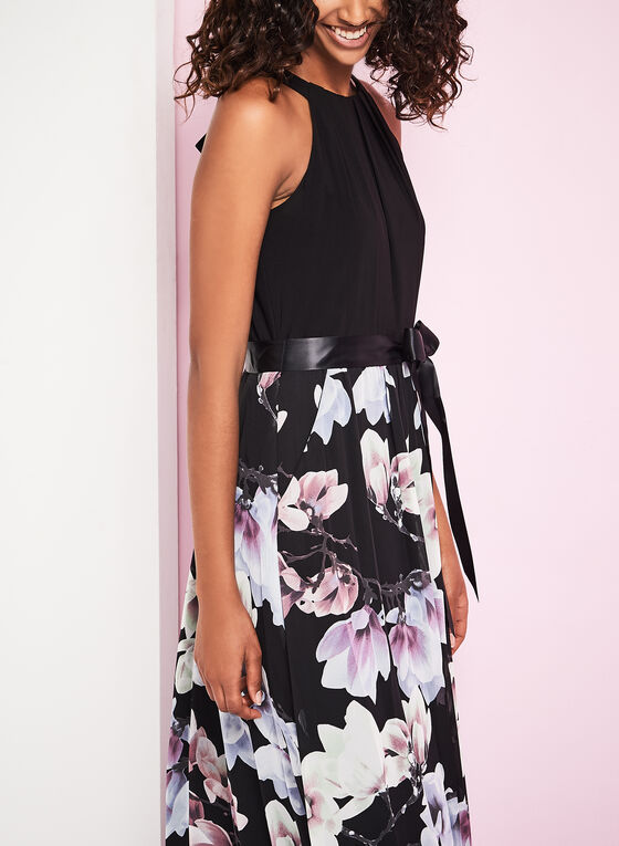 Sleeveless Floral Print Maxi Dress, Black, hi-res