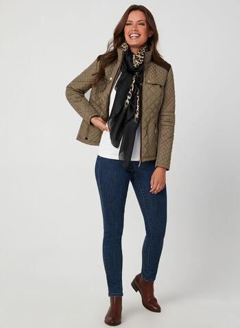 Weatherproof - Manteau matelassé , Brun, hi-res,  manteau, matelassé, contrastant, zip, poches, rivets, col montant, automne hiver 2019
