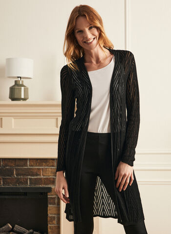 Pointelle Knit Cardigan, Black,  cardigan, knit, pointelle, open front, long sleeves, fall winter 2020